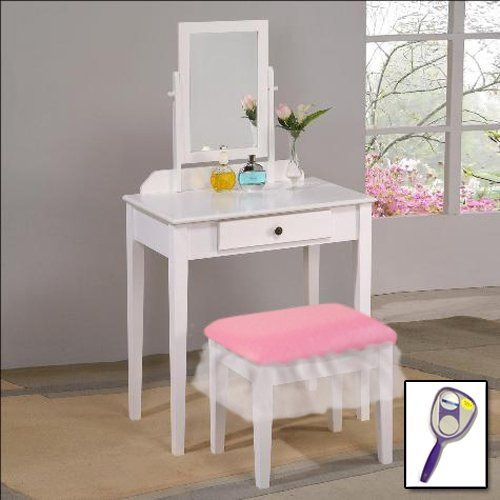 New White Wooden Make Up Vanity Table With Mirror & Baby Pink Vinyl Themed Bench With White Tutu Style Skirt Around Seat!