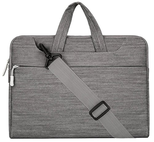 Mosiso Laptop Shoulder Briefcase Bag, Denim Fabric Sleeve Carry Case Cover for 13-13.3 Inch MacBook Pro, MacBook Air, Notebook, Gray
