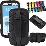 Generic for Galaxy S3 Case,Heavy Duty Defender Series Army Military Grade Shock-absorbingImpact-resistant Rugged Builders Workman Rugged Hybrid Full Body Protective Case W/ Built-in Screen Protector & Belt Clips for Samsung Galaxy S3 i9300 Only (S3--Black)