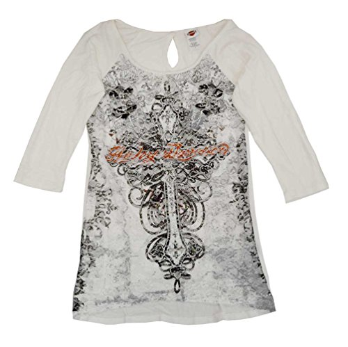 Harley-Davidson Women's Embellished T-Shirt, Curl 3/4 Sleeve, Cream HD103CRM (M)