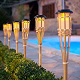 Pair of Large Solar Powered LED Bamboo Garden Torches by Lights4fun