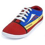 Earton Men's Red Canvas Sneakers (9 UK)