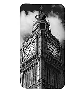 Fuson Premium Clock Tower Printed Hard Plastic Back Case Cover for HTC One Max