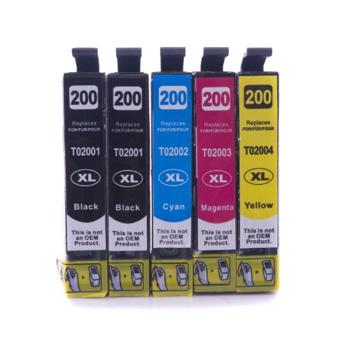 SPEEDTM Compatible Ink Cartridge Replacement for Epson T200XL (2xBlack, Cyan, Magenta, Yellow, 5-Pack)
