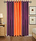 Indian Online Mall Plain Door Curtain (Pack of 2), Wine and Orange