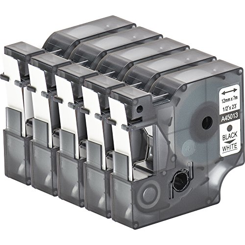 multipack-5-cassette-de-ruban-a-etiqueter-avec-dymo-d1-45013-en-noir-sur-blanc-12mm-x-7m-pour-labelm