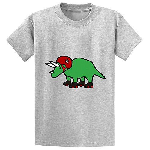 Unicorn Roller Derby Triceratops Kid's Print Crew Neck T Shirt Grey
