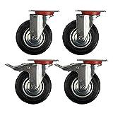 SPEED-4-Stck-100mm-Transportrollen-Lenkrollen-und-Lenkrollen-mit-Bremse-Schwerlastrollen-Tragfhigkeit-70-kg-pro-Rolle-Schwarz-Gummi-Stahlblech-Verzinkt-SilberSchwarz