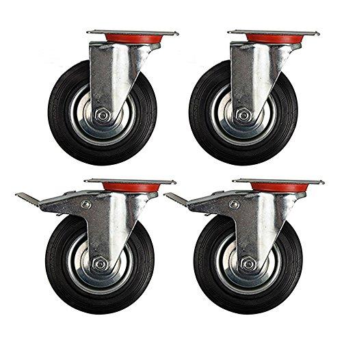 SPEED-4-Stck-75mm-Transportrollen-Lenkrollen-und-Lenkrollen-mit-Bremse-Schwerlastrollen-Tragfhigkeit-50-kg-pro-Rolle-Schwarz-Gummi-Stahlblech-Verzinkt-SilberSchwarz