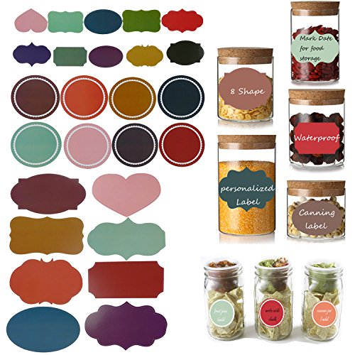 Colored and Assorted Size Chalkboard Labels for Mason Jars Decor or Food Storage Container,Waterproof(78 pcs) (Oval Cookie Jar compare prices)
