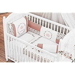My Princess Themed Terracotta Baby Girl 10 Pcs Nursery Crib Bedding Set Embroidered