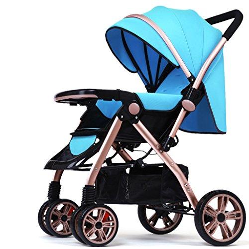 Spaziergänger können leichte, tragbare Klappkinderwagen Baby-Buggy Sommer sitzen liegen ( farbe : Blau )