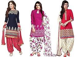 KAPI TEX Women's Printed Unstitched Regular Wear Salwar Suit Dress Material (Combo pack of 3)(SB_SLP_COMBO)(SB_Other_Blue)(SB_Love_Pink)(SB(KAPI SLP 3 COMBO)