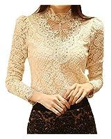 Mesdames Chic OL chemisier chemisier en dentelle chemisier en dentelle col montant longues tops manches perlées en 2 couleurs