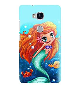 Printvisa Premium Back Cover Blue Mermaid Pattern Design For Huawei Honor 5X:: Huawei Honor X5::Huawei GR5