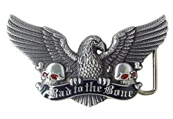 Bad to the Bone Eagle with Skulls Belt Buckle