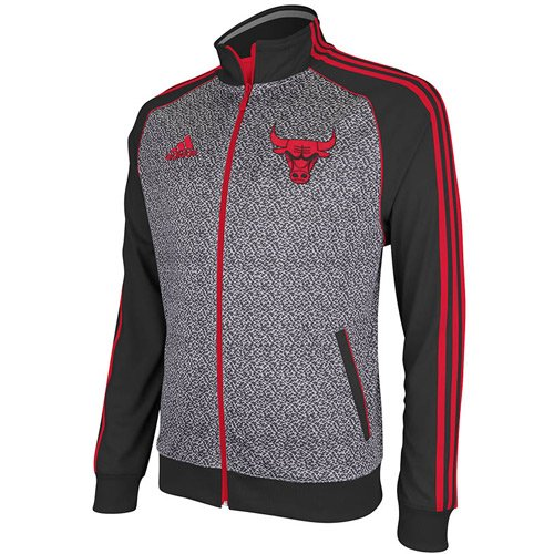 NBA adidas Chicago Bulls Static Full Zip Track Jacket - Gray/Black (X-Large) at Amazon.com