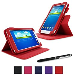 rooCASE Samsung Galaxy Tab 3 7.0 Case - Dual View Multi-Angle Stand Tablet Case - RED