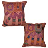 Cotton Cushion Cover Adorn Patchwork Embroidery Work 16 Inches Set 2 Pcs