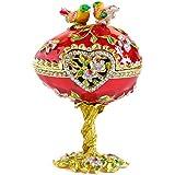 Vintage Style Hand Painted Love Bird Faberge Egg Rhinestone Jewerly Trinket Box