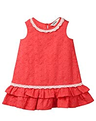 Beebay Infant-girl 100% Cotton Woven Schiffli Embroidery Lace Dress (D0716129103328_Coral_3-4 Years)