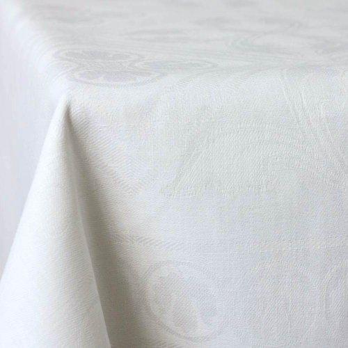 Alemira 1401 Leinen Tischdecke Jacquard, 150 x 250 cm, klassik weiß