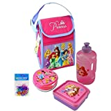 Disney Princess Lunch Bag Set: Disney Princess Water Bottle, Sandwich Box, Snack Container, Insulated Lunch Bag, & 8-pack Silicone Bracelets (Animal Shaped) - 5 Item Bundle