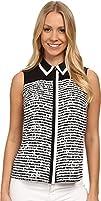 Calvin Klein Womens Striped Color Block Button Front Blouse