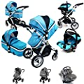 i-Safe System - Ocean Trio Travel System Pram & Luxury Stroller 3 in 1 Complete With Car Seat + Rain Covers by iSafe