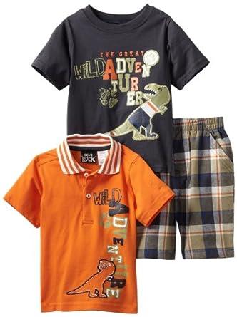 Boys Rock Little Boys' 3 Piece Dino Short Set, Orange, 2T