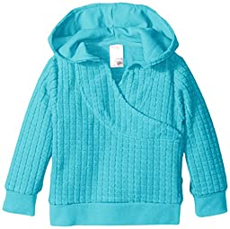 Zutano Unisex-Baby Infant Waffle Cozie Fleece Wrap Hoodie, Pool, 6 Months