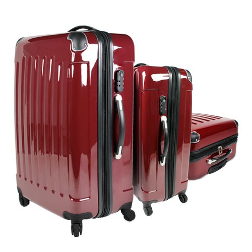 Suitcase Trolley Luggage Travel Bag Set Red
