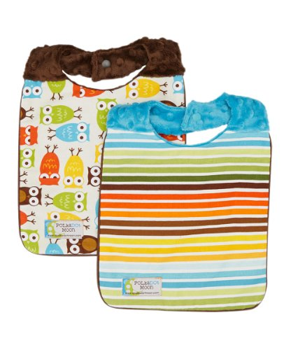 Baby Boy Bibs Set of 2 - Owls & Stripes - Minky Baby Bibs