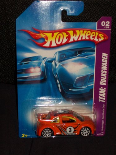 Hot Wheels 2008 130 Team: Volkswagen # 2 of 4 Volkswagen VW New Beetle Cup Orange 1:64 Scale - 1