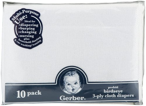 Gerber Gauze Prefold Cloth Diaper - White back-938396