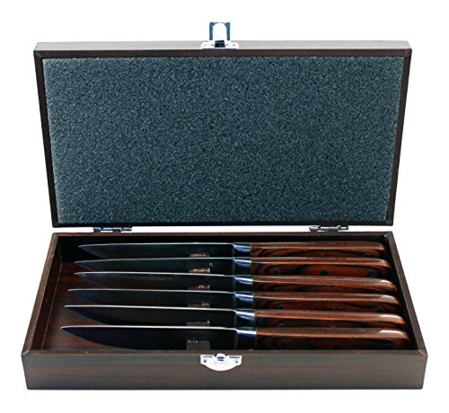 BergHOFF Pakka 6-Pieces Steak Knife Set with Wood Gift Case, Pakkawood