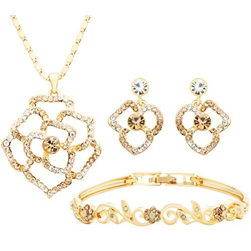 NEOGLORY-Conjunto-Flores-Collar-Brazalete-Pendientes-con-GENUINAS-PIEDRAS-SWAROVSKI-BLANCO-Joya-Original-Mujer