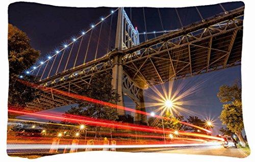 Microfiber Peach Queen Size Decorative Pillowcase -City City Night Bridge Street Lights front-682916