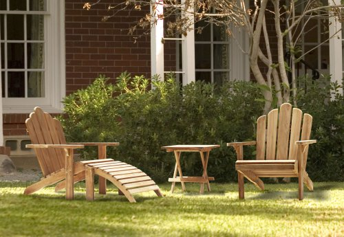 Two Teak Adirondack Chairs with Adirondacks Footrest and free Picnic Table
