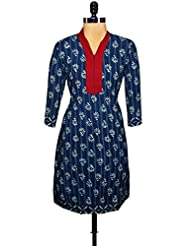 Unnati Silks Women Pracheen Kala Navy Blue Cotton Dabu Printed Kurta - B00WO8Y52A