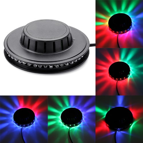 Docooler Full Color Led Rgb Rotating Lamp With Remote Sound-Activated Stage Dj Light Bulb 3W E27 85-260V (White) (Black)