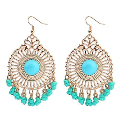 [Dasion Retro Fashion Hollow Tassel Earrings Temperament New National Wind Earrings(Blue)] (India National Costume For Male Kids)