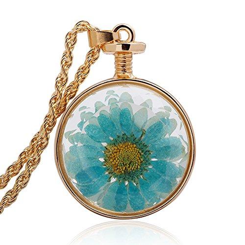 winters-secret-circle-shape-blue-daisy-dried-flower-glass-pendant-gold-color-twist-chain-necklace