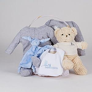 Canastilla regalo bebé Casual Esencial BebeDeParis-Azul- cesta regalo recién nacido marca BebeDeParis en BebeHogar.com