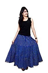 Decot Paradise Viscose Women's Skirt (SKT217_Blue_Free Size)