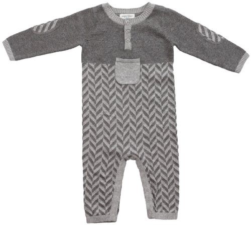 Angel Dear Baby Boys' Herringbone Pocket L/S Coverall -Grey Heather - 9-12 Months front-1062969