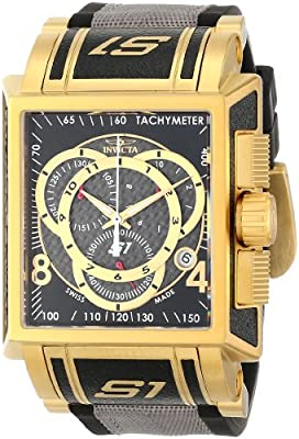 Invicta Men's 11691 S1 Chronograph Black Dial Black Polyurethane and Grey Nylon Watch