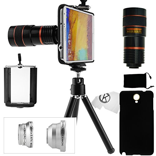 Samsung Galaxy Note 3 Camera Lens Kit Including An 8X Telephoto Lens / 1 Fisheye Lens / 1 Wide Angle Lens / 1 Macro Lens / 1 Mini Tripod / 1 Universal Phone Holder / 1 Protective Hard Case / 1 Velvet Phone Bag / 1 Camkix Microfiber Cleaning Cloth - Awesom