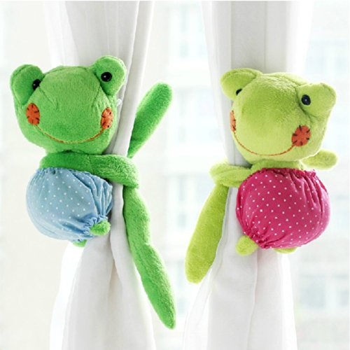 A Pair Baby Kid Toddler Child Infant Nursery Room Bedroom Animal Cartoon Plush Frog Window Curtain Tieback Tie Back Decor Holder Buckle Holdback Belt Hooks Clip Clasps Toy