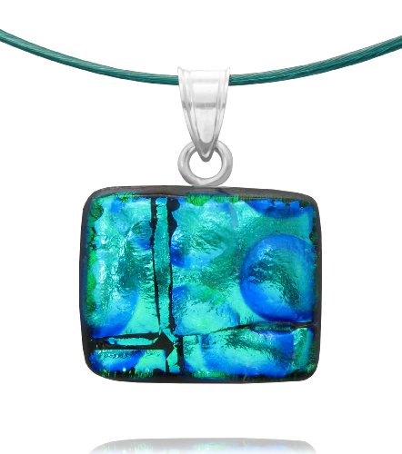 Sterling Silver Dichroic Glass Turquoise and Green Rectangular Pendant on Stainless Steel Wire, 18""